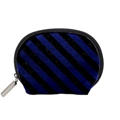 Stripes3 Black Marble & Blue Leather (r) Accessory Pouch (small) by trendistuff