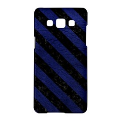 Stripes3 Black Marble & Blue Leather (r) Samsung Galaxy A5 Hardshell Case  by trendistuff