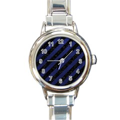 Stripes3 Black Marble & Blue Leather Round Italian Charm Watch by trendistuff