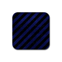 Stripes3 Black Marble & Blue Leather Rubber Coaster (square) by trendistuff