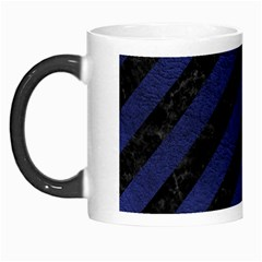 Stripes3 Black Marble & Blue Leather Morph Mug by trendistuff