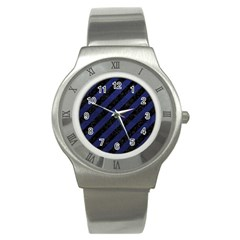 Stripes3 Black Marble & Blue Leather Stainless Steel Watch by trendistuff