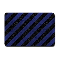 Stripes3 Black Marble & Blue Leather Small Doormat by trendistuff