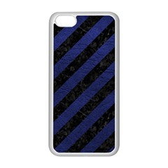 Stripes3 Black Marble & Blue Leather Apple Iphone 5c Seamless Case (white) by trendistuff