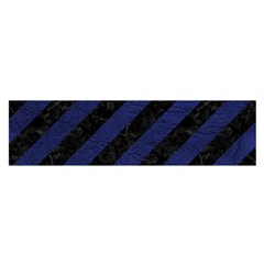 Stripes3 Black Marble & Blue Leather Satin Scarf (oblong) by trendistuff