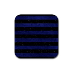 Stripes2 Black Marble & Blue Leather Rubber Square Coaster (4 Pack) by trendistuff