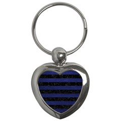Stripes2 Black Marble & Blue Leather Key Chain (heart) by trendistuff