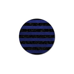 Stripes2 Black Marble & Blue Leather Golf Ball Marker (4 Pack) by trendistuff