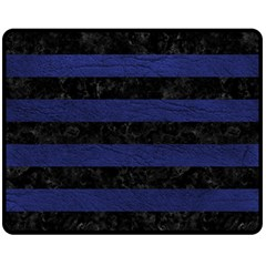 Stripes2 Black Marble & Blue Leather Fleece Blanket (medium) by trendistuff