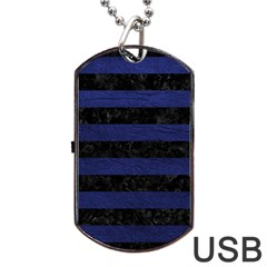 Stripes2 Black Marble & Blue Leather Dog Tag Usb Flash (two Sides) by trendistuff