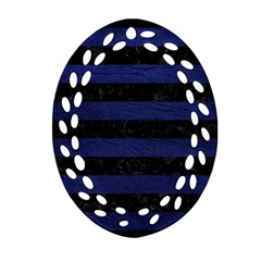 Stripes2 Black Marble & Blue Leather Oval Filigree Ornament (two Sides) by trendistuff