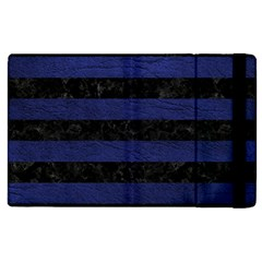 Stripes2 Black Marble & Blue Leather Apple Ipad 3/4 Flip Case by trendistuff