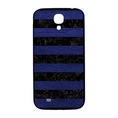 Stripes2 Black Marble & Blue Leather Samsung Galaxy S4 I9500/i9505  Hardshell Back Case by trendistuff