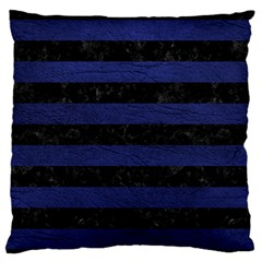 Stripes2 Black Marble & Blue Leather Standard Flano Cushion Case (one Side) by trendistuff