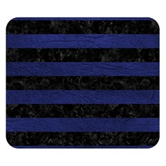 Stripes2 Black Marble & Blue Leather Double Sided Flano Blanket (small) by trendistuff
