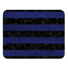 Stripes2 Black Marble & Blue Leather Double Sided Flano Blanket (large) by trendistuff