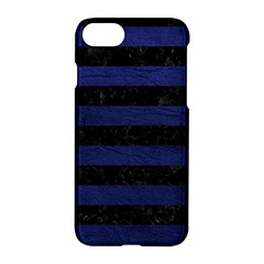Stripes2 Black Marble & Blue Leather Apple Iphone 7 Hardshell Case by trendistuff
