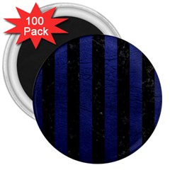 Stripes1 Black Marble & Blue Leather 3  Magnet (100 Pack) by trendistuff