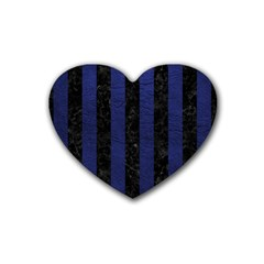 Stripes1 Black Marble & Blue Leather Rubber Heart Coaster (4 Pack) by trendistuff
