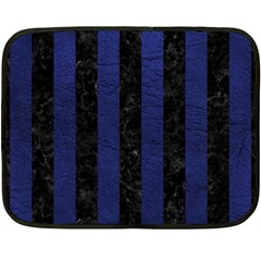 Stripes1 Black Marble & Blue Leather Double Sided Fleece Blanket (mini) by trendistuff
