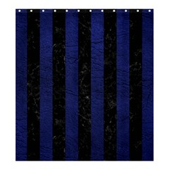 Stripes1 Black Marble & Blue Leather Shower Curtain 66  X 72  (large) by trendistuff