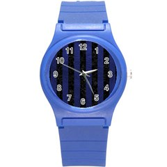 Stripes1 Black Marble & Blue Leather Round Plastic Sport Watch (s) by trendistuff