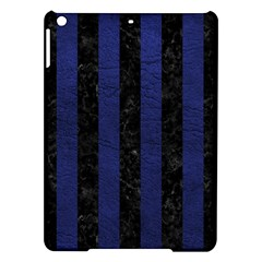 Stripes1 Black Marble & Blue Leather Apple Ipad Air Hardshell Case by trendistuff