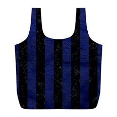 Stripes1 Black Marble & Blue Leather Full Print Recycle Bag (l) by trendistuff