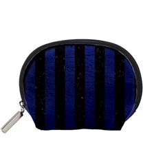 Stripes1 Black Marble & Blue Leather Accessory Pouch (small) by trendistuff