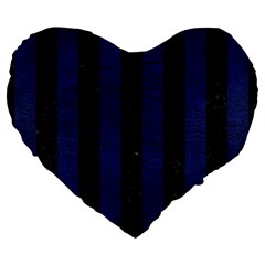 Stripes1 Black Marble & Blue Leather Large 19  Premium Flano Heart Shape Cushion by trendistuff