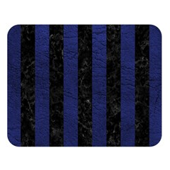 Stripes1 Black Marble & Blue Leather Double Sided Flano Blanket (large) by trendistuff