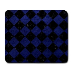 Square2 Black Marble & Blue Leather Large Mousepad by trendistuff