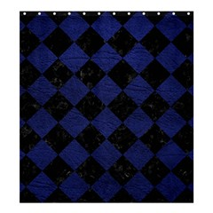 Square2 Black Marble & Blue Leather Shower Curtain 66  X 72  (large) by trendistuff
