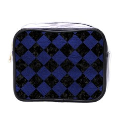 Square2 Black Marble & Blue Leather Mini Toiletries Bag (one Side) by trendistuff