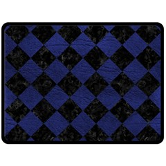 Square2 Black Marble & Blue Leather Fleece Blanket (large) by trendistuff