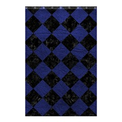 Square2 Black Marble & Blue Leather Shower Curtain 48  X 72  (small) by trendistuff