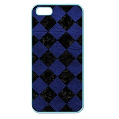 Square2 Black Marble & Blue Leather Apple Seamless Iphone 5 Case (color) by trendistuff