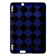 Square2 Black Marble & Blue Leather Kindle Fire Hdx Hardshell Case by trendistuff
