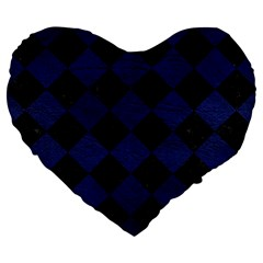 Square2 Black Marble & Blue Leather Large 19  Premium Flano Heart Shape Cushion by trendistuff
