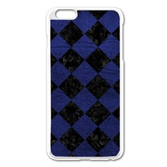 Square2 Black Marble & Blue Leather Apple Iphone 6 Plus/6s Plus Enamel White Case by trendistuff
