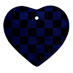 Square1 Black Marble & Blue Leather Ornament (heart) by trendistuff