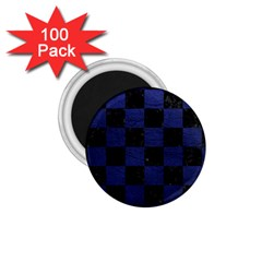 Square1 Black Marble & Blue Leather 1 75  Magnet (100 Pack)  by trendistuff