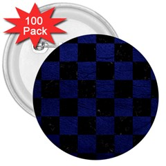 Square1 Black Marble & Blue Leather 3  Button (100 Pack) by trendistuff