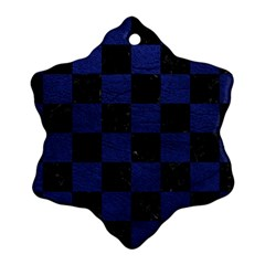 Square1 Black Marble & Blue Leather Snowflake Ornament (two Sides) by trendistuff
