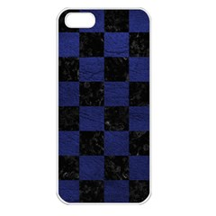 Square1 Black Marble & Blue Leather Apple Iphone 5 Seamless Case (white)