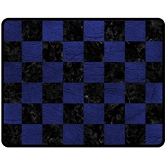 Square1 Black Marble & Blue Leather Double Sided Fleece Blanket (medium) by trendistuff