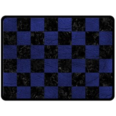 Square1 Black Marble & Blue Leather Double Sided Fleece Blanket (large) by trendistuff