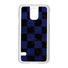 Square1 Black Marble & Blue Leather Samsung Galaxy S5 Case (white) by trendistuff