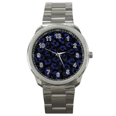 Skin5 Black Marble & Blue Leather (r) Sport Metal Watch by trendistuff