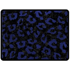 Skin5 Black Marble & Blue Leather (r) Double Sided Fleece Blanket (large)